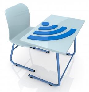 school desk with wireless symbol