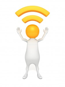 3d man wireless or rss symbol on head concept